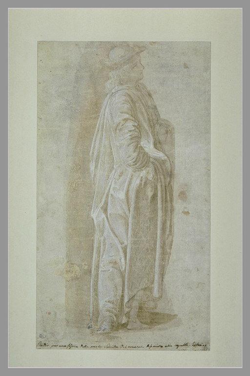 Jeune homme drapé, debout, de profil vers la droite