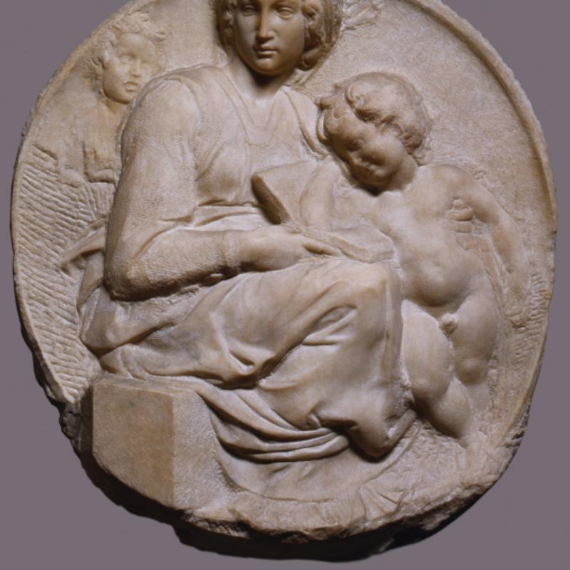 Michelangelo Buonarroti, Madonna col Bambino e San Giovannino (Tondi Pitti), Firenze, Museo Nazionale del Bargello – ph. A. Quattronew