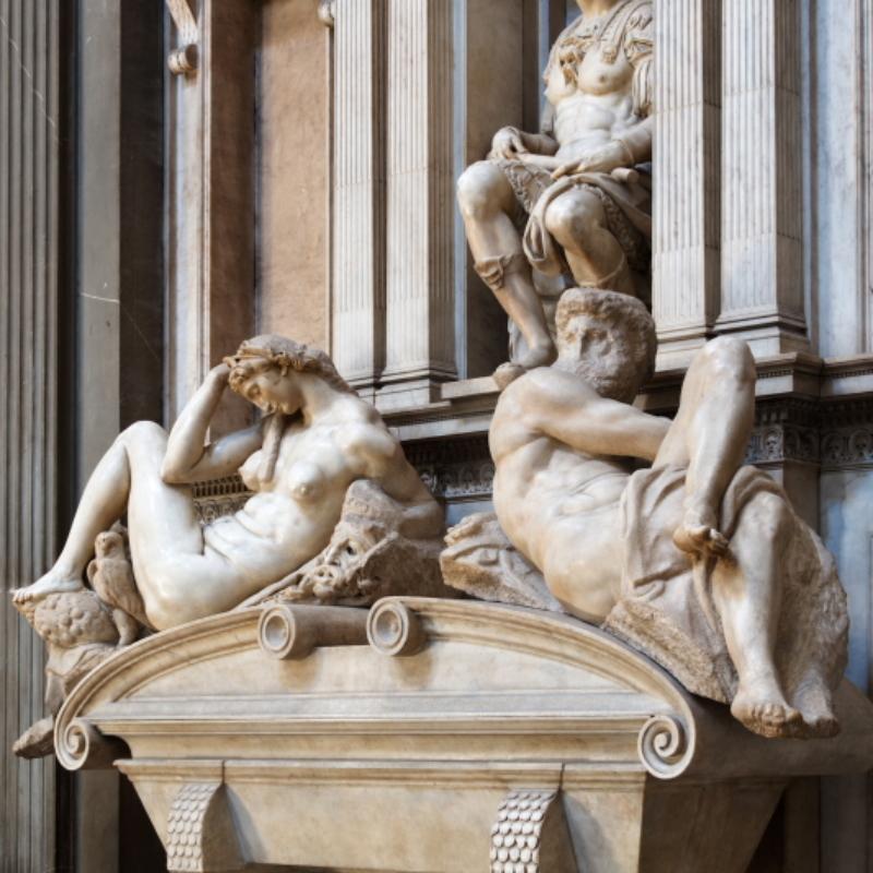 Michelangelo Buonarroti, Tomba di Giuliano de'Medici duca di Nemours – Firenze, Cappelle Medicee – ph. Villa I Tattiw
