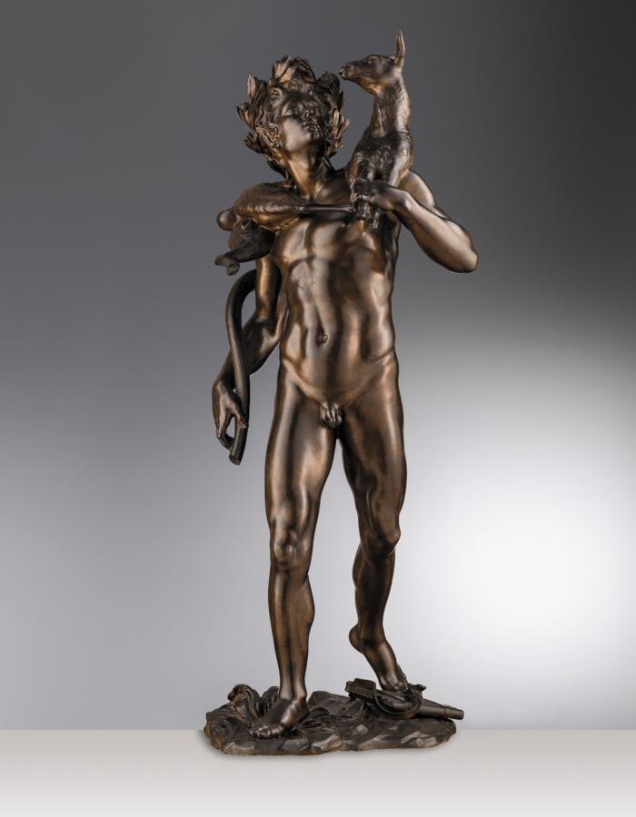 Fig. 20 Giuseppe Piamontini Satiro con capretto sulle spalle 1697 bronzo patinato Museo Nazionale del Bargello, Firenze